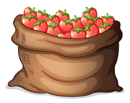 Illustration of a sack of strawberries on a white background Vector