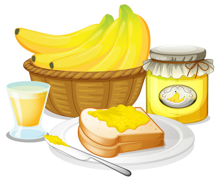 sandwich white background: Illustration of the banana jam, juice and a sandwich on a white background