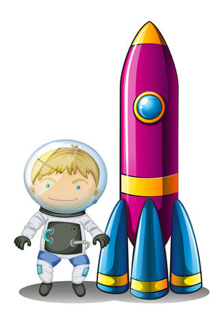 Illustration of an astronaut beside a rocket on a white background Vector