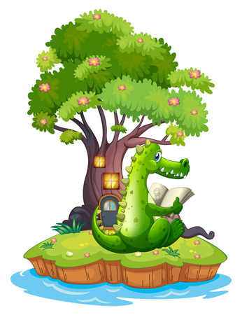 Illustration of a crocodile in an island reading on a white background Vector