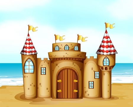 Illustration of a castle at the beach Vector