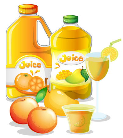 Illustration of the different juice drinks on a white background Vector