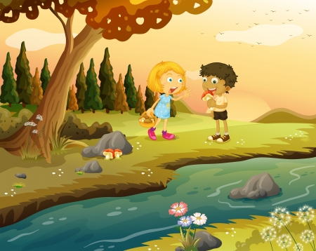 Illustration of a boy and a girl playing at the forest near the riverbank