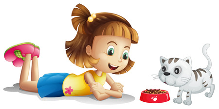Illustration of a young girl watching her pet eating on a white background Vector