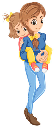 Illustration of a mother and her daughter on a white background Illustration