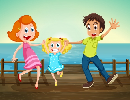 Illustration of a happy family at the seaport Vector