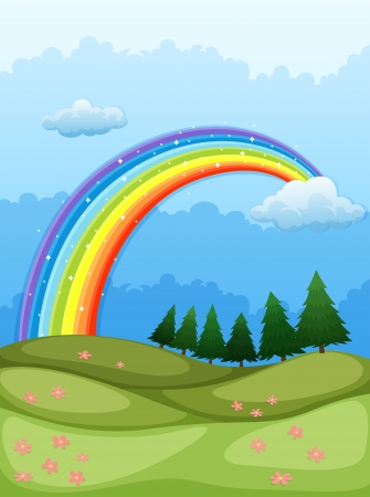 Illustration of a rainbow in the sky Vector