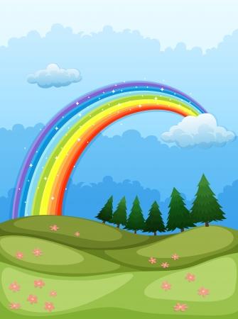 cartoon rainbow: Illustration of a rainbow in the sky