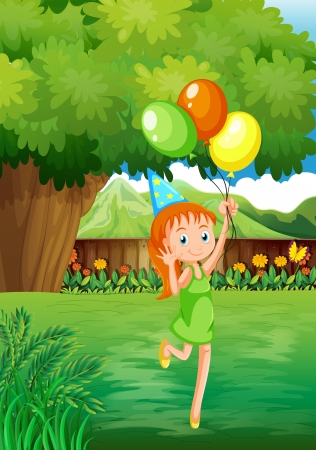 Illustration of a young girl at the backyard with three balloons Vector
