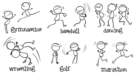 Illustration of the different indoor and outdoor activities on a white background Vector