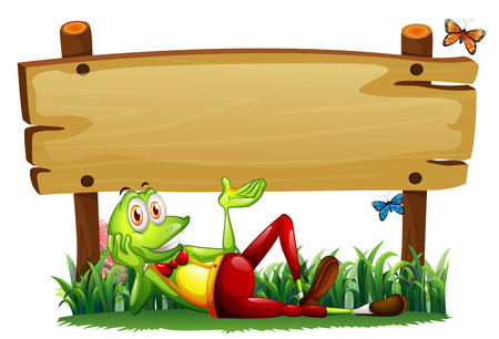 Illustration of a playful frog under the empty wooden signboard on a white background Vector