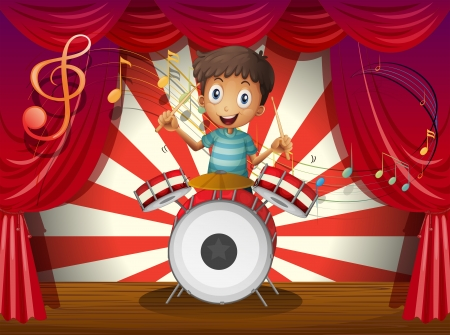 performing: Illustration of a boy at the center of the stage with a drum Illustration