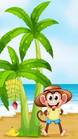 brown banana: Illustration of a smiling monkey at the beach with bananas