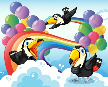 forewing: Illustration of the three birds near the rainbow and balloons Illustration