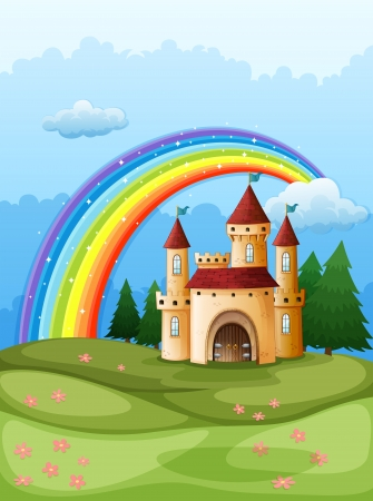 Illustration of a castle at the hilltop with a rainbow Vector