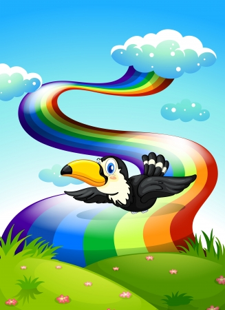forewing: Illustration of a bird flying near the rainbow Illustration