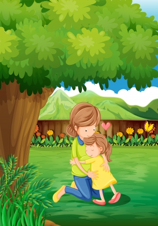 Illustration of a backyard with a mother and a child Vector