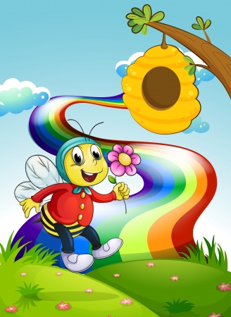 Illustration of a smiling bee holding a flower at the hilltop with a rainbow Vector