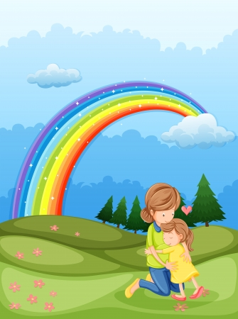 Illustration of a mother and a child hugging near the rainbow Vector