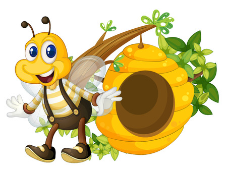 flavorful: Illustration of a smiling yellow bee near the beehive on a white background Illustration