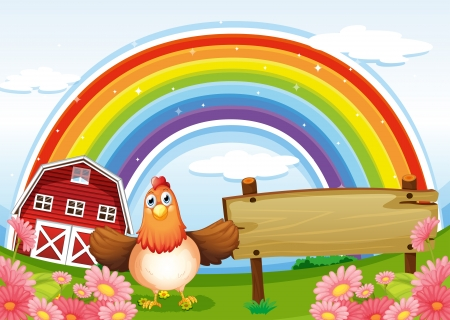Illustration of a farm with an empty wooden board and a rainbow above Vector