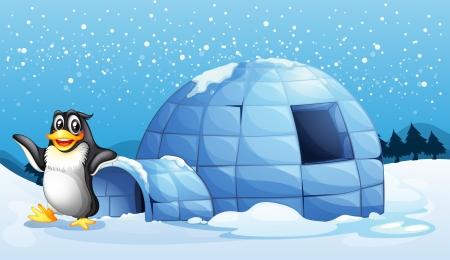 Illustratie van een pinguïn naast de iglo