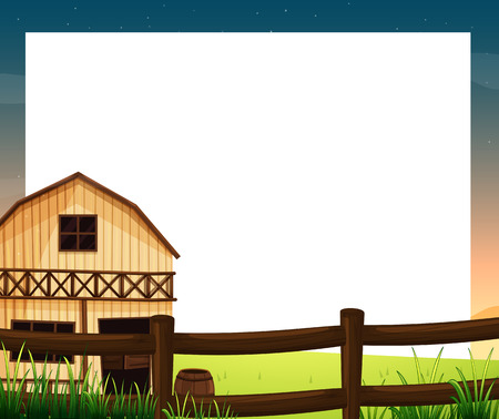 barnhouse: Illustration of an empty template with a barnhouse and a fence on a white background