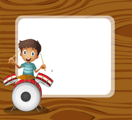 drumming: Illustration of a drummer in front of the empty signboard