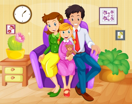 Illustration of a family inside the house Vector