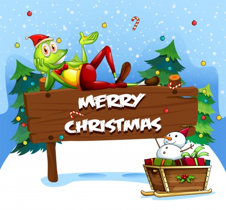 christmas frog: Illustration of a Santa frog above the christmas signboard