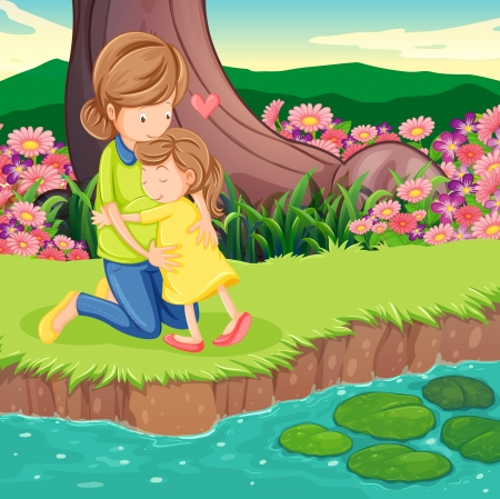 riverbank: Illustration of a mother hugging her daughter at the riverbank