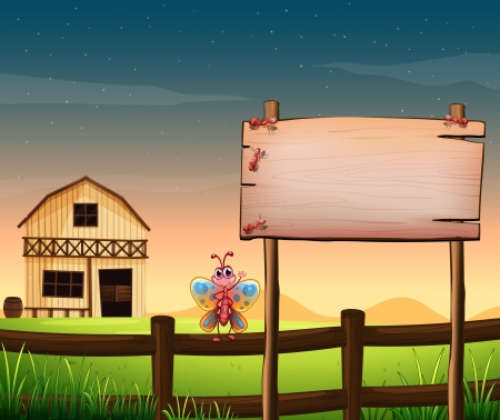 Illustration of an empty wooden board at the farm with insects Vector