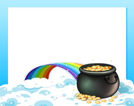 Illustration of an empty template with a pot of gold and a rainbow Stock Vector - 25532665