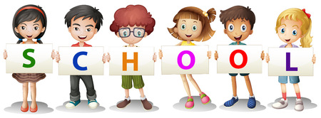 Illustration of the kids forming the school letters on a white background