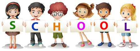 Illustrazione dei bambini che formano le lettere della scuola su uno sfondo bianco Vettoriali