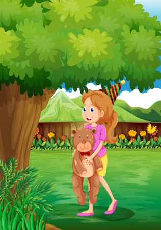 back yard: Illustration of a girl with her toy under the tree Illustration