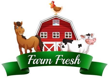 animales de granja: Ilustración de los animales de la granja, un barnhouse y un cartel sobre un fondo blanco