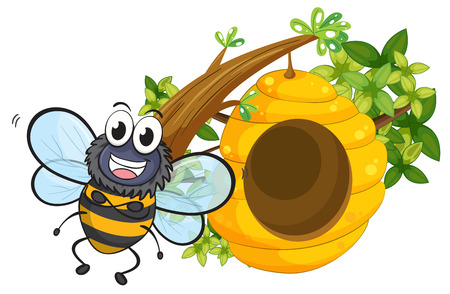 hindwing: Illustration of a smiling bee beside its beehive on a white background