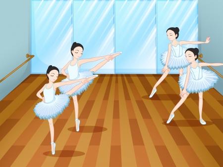 Illustration of the four ballet dancers rehearsing Illustration