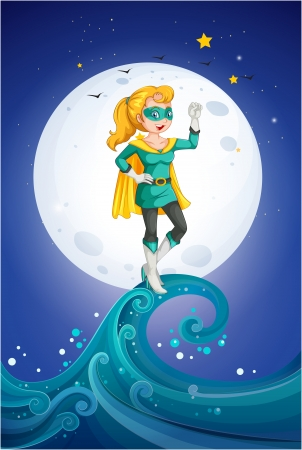 good evening: Illustration of a female hero near the fullmoon Illustration
