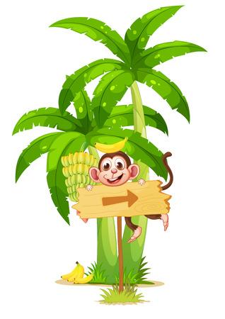 Illustration d'un arrowboard avec un singe près de l'usine de banane sur un fond blanc