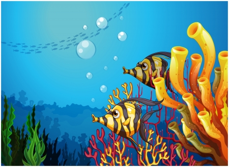 underworld: Illustration of a deep sea with beautiful coral reefs and fishes on a white background Illustration