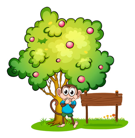 Illustration of a monkey and an empty signboard under the tree on a white background Vector