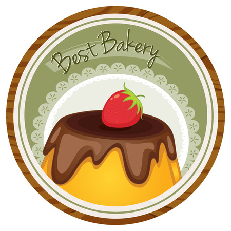 Illustration of a best bakery label with a cake and a strawberry on a white background Vector