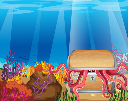 seaweeds: Illustration of a treasure box with an octopus