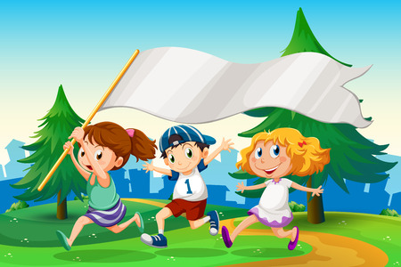 Illustration of the three kids running with an empty flag banner Vector