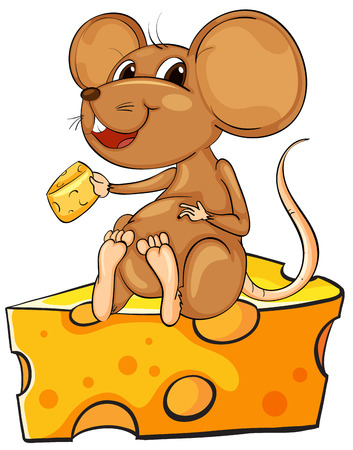 hunger: Illustration of a mouse sitting above a cheese on a white background