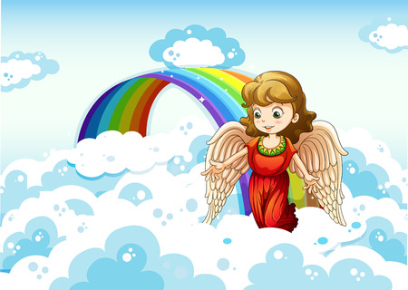 cartoon teenager: Illustration of an angel in the sky near the rainbow