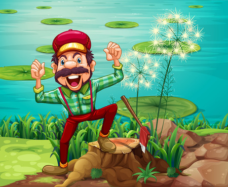 Illustration of a happy lumberjack stepping on a stump at the riverbank Vector