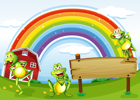 Illustration of an empty wooden board with frogs and a rainbow in the sky Vector